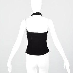 Small 1950s Top Black Velvet Fitted Halter Neck Backless Blouse Rockabilly Pinup - Fashionconstellate.com