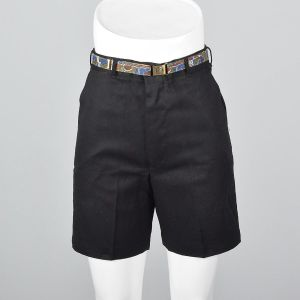 XS 1950s Bermuda Shorts Black High Waisted Sanforized Cotton Deadstock 50s Shorts