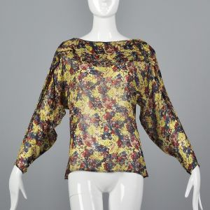 Small 1980s Gianni Versace Sheer Floral Top Long Dolman Sleeve Blouse