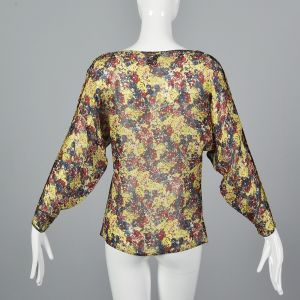 Small 1980s Gianni Versace Sheer Floral Top Long Dolman Sleeve Blouse  - Fashionconstellate.com