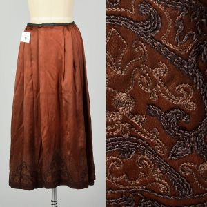 Small 1910s Edwardian Embroidered Hem Brown Silk