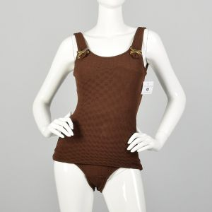 Small 1960s Swimsuit Brown Ribbed Knit One Piece Beach Modesty
