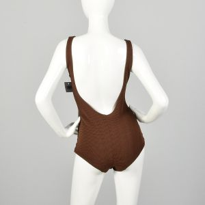Small 1960s Swimsuit Brown Ribbed Knit One Piece Beach Modesty  - Fashionconstellate.com