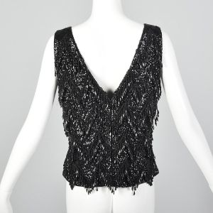 Medium 1960s Top Black Beaded Fringe Blouse Wool Sweater Tank New Years Party Blouse - Fashionconstellate.com