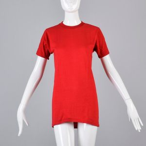 Small Red T-Shirt 1970s Ribbed Knit Top Slim Tight Fitting Short Sleeve Baby Tee