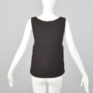 XS Fendi Brown Sweater Vest Chunky Knit Thick Wool Rhinestone Details Tank Top - Fashionconstellate.com