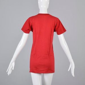Small Red T-Shirt 1970s Ribbed Knit Top Slim Tight Fitting Short Sleeve Baby Tee - Fashionconstellate.com