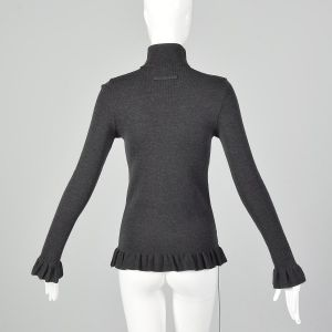 Small 1990s Jean Paul Gaultier Maille Femme Grey Sweater Ribbed Wool Turtleneck  - Fashionconstellate.com