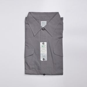 Large 1960s Cotton Blend Gray Shirt Dual Chest Pockets with Flaps Sanforized Short Sleeve Deadstock - Fashionconstellate.com