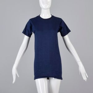 Small Navy Blue T-Shirt 1970s Short Sleeve Unisex Ribbed Knit Trim Top Slim Tight Fitting Cotton Tee