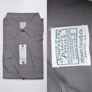 Large 1960s Cotton Blend Gray Shirt Dual Chest Pockets with Flaps Sanforized Short Sleeve Deadstock