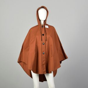 Small 1970s Brown Hooded Button Front Poncho Lightweight Unlined Canvas Cape