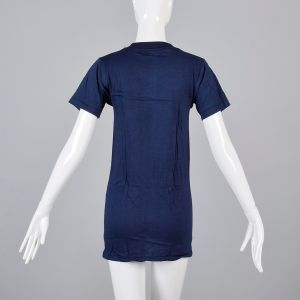 Small Navy Blue T-Shirt 1970s Short Sleeve Unisex Ribbed Knit Trim Top Slim Tight Fitting Cotton Tee - Fashionconstellate.com