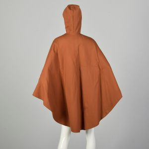 Small 1970s Brown Hooded Button Front Poncho Lightweight Unlined Canvas Cape  - Fashionconstellate.com