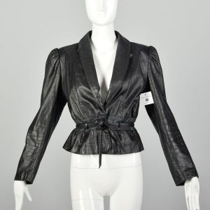 Medium 1980s Wilsons Belted Black Leather Jacket