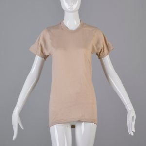 Small Tan T-Shirt 1970s Ribbed Knit Top Slim Tight Fitting Taupe Short Sleeve Baby Tee