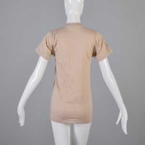 Small Tan T-Shirt 1970s Ribbed Knit Top Slim Tight Fitting Taupe Short Sleeve Baby Tee - Fashionconstellate.com
