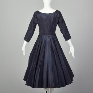 XS 1950s Dress Navy Blue Taffeta Full A-line Skirt Red Tartan Plaid Underskirt 50s Pinup Rockabilly - Fashionconstellate.com