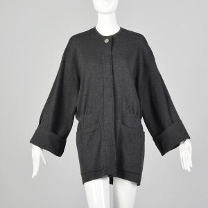 Large 1980s Donna Karen Gray Sweater Oversized Designer Charcoal Cardigan Pockets