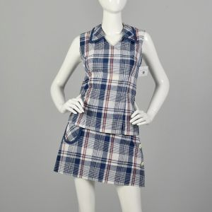 Small 1960s Tennis Set Plaid Skort Outfit