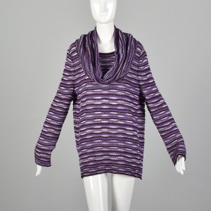 Large St John Sport Sweater Purple Wavy Knit Long Sleeve Tunic Matching Infinity Scarf Set