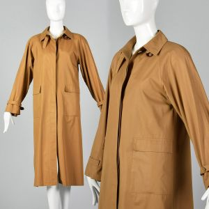 Medium Tan Trench Coat 1990s Brown Lightweight Spring Throat Latch Overcoat