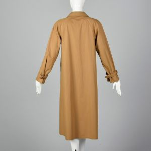 Medium Tan Trench Coat 1990s Brown Lightweight Spring Throat Latch Overcoat - Fashionconstellate.com