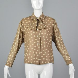 Medium 1970s Pauline Trigere Tan Top Beige Polka Dot Blouse Pussy Bow Tie Neck Button Up
