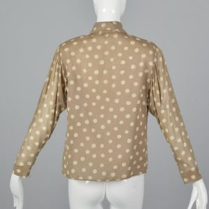 Medium 1970s Pauline Trigere Tan Top Beige Polka Dot Blouse Pussy Bow Tie Neck Button Up - Fashionconstellate.com