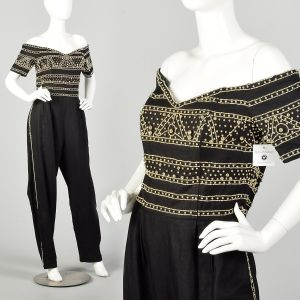 XL 1980s Jumpsuit Black Gold Beading Off Shoulder Military Look
