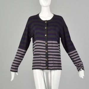 Small 1990s Sonia Rykiel Purple Gray Sweater Striped Cardigan Designer Cotton Drawstring Knit