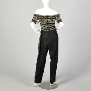 XL 1980s Jumpsuit Black Gold Beading Off Shoulder Military Look - Fashionconstellate.com
