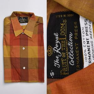 Small 1950s Fall Plaid Shirt Cotton Long Sleeve Fruit of the Loom Deadstock