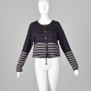 Small 1990s Sonia Rykiel Purple Gray Sweater Striped Cardigan Designer Cotton Drawstring Knit - Fashionconstellate.com