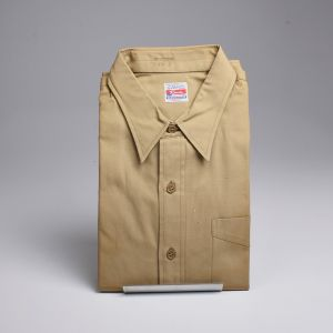 Large 1950s Military Regulation Cotton Poplin Shirt Button Up Long Sleeve Deadstock - Fashionconstellate.com