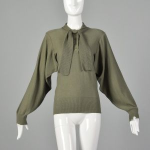 Medium 1980s Sonia Rykiel Green Sweater Designer Vented Open Armpits Ribbed Knit Trim