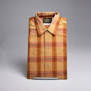 Medium 1950s Fruit of the Loom Button Up Shirt Gold Brown Plaid Long Sleeve Chest Pocket