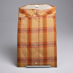 Medium 1950s Fruit of the Loom Button Up Shirt Gold Brown Plaid Long Sleeve Chest Pocket - Fashionconstellate.com