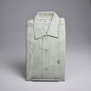 Small 1960s Mint Green Short Sleeve Shirt Embroidered Chest Pocket Casual Summer - Fashionconstellate.com