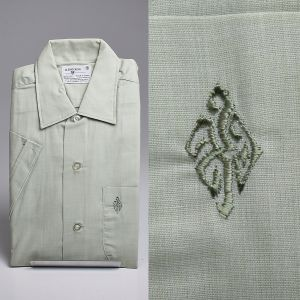 Small 1960s Mint Green Short Sleeve Shirt Embroidered Chest Pocket Casual Summer