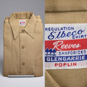 Small 1950s Regulation Elbeco Military Shirt Button Down Long Sleeve Sanforized Cotton
