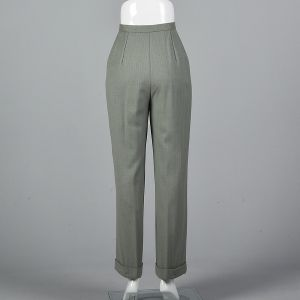 Small 1990s Gray Wool Herringbone Pants Mint High Waist Trousers  - Fashionconstellate.com