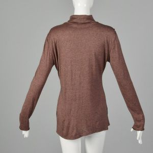 Large 1990s Rodier Top Chestnut Lightweight Wool Turtleneck Long Sleeve Shirt - Fashionconstellate.com