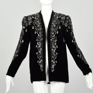 Medium 1980s Silver Sequin Dress Jacket Black Velvet Evening Coat