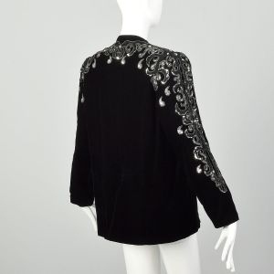 Medium 1980s Silver Sequin Dress Jacket Black Velvet Evening Coat  - Fashionconstellate.com