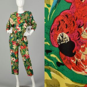 Small 1980s Jumpsuit Novelty Jungle Print Sexy Open Back