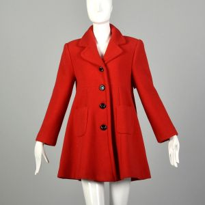 Small 90s Mod Red Swing Coat Winter Babydoll Outerwear