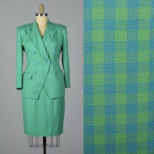 XL 1990s Christian Dior Skirt Suit Deadstock Blue Green Gingham Check Separates