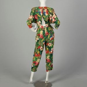 Small 1980s Jumpsuit Novelty Jungle Print Sexy Open Back - Fashionconstellate.com