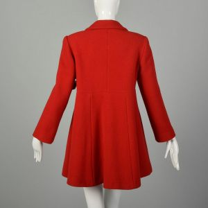 Small 90s Mod Red Swing Coat Winter Babydoll Outerwear - Fashionconstellate.com